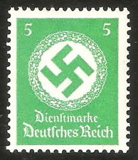 DR Nazi 3rd Reich Rare WW2 Stamp Hitler's Party Official Service Swastika Big SS