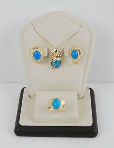 Lika Behar 18K Gold Turquoise Diamond Pendant Necklace Earrings & Ring Set