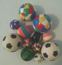 Rubber super balls, lot of 12 Circus, Soccer, 8-ball and Camouflage