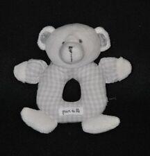 Peluche doudou ours blanc GRAIN DE BLE beige à carreaux gris grelot 14 cm TTBE