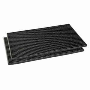 BlackRubber CoffeeBar Mats for Countertop Spills(18 x 12 In, 2 Pack)