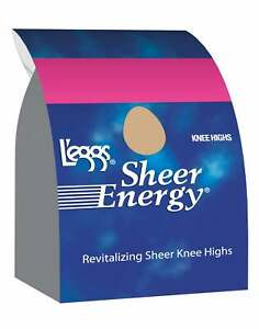 L'eggs Sheer Energy Knee Highs 5-Pack Reinforced Toe Stockings Knit Wide Band
