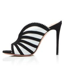 Large size black and white striped women's high heel Mule sandals peeptoe pumps