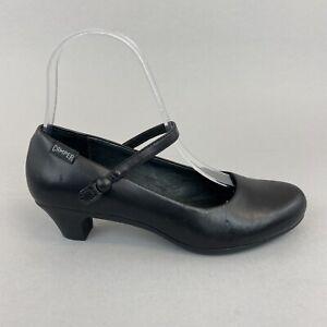 CAMPER HELENA Black Leather Mary Jane Slip On Mid Heels Shoe Size 35 UK2