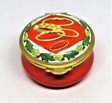 Staffordshire English Enamel Box - 12 Days Of Christmas Carol - 5 Gold Rings