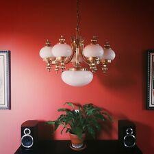 Large European 8 glass globe solid brass chandelier