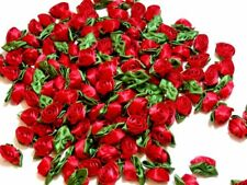 Red Rose Flower Appliques, Offray Rolled Rose Satin Flowers X 10 pcs Moss Leaf