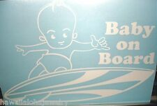 "9"" Vinyl Hawaiian Boy Baby on Board Short Surfboard Car Decal Sticker White #1O"
