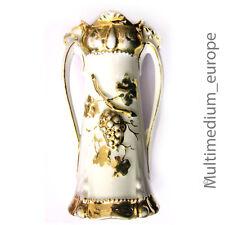 Jugendstil Bisquit-Porzellan Vase mit 2 Henkel um 1910 mit Weintrauben vergoldet