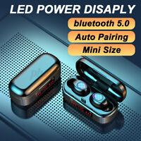 Wireless bluetooth 5.0 Headset TWS Earbuds LED Earphones Twins Headphone