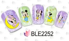 Nail Art Water Decals Stickers Baby Mickey Mouse Minnie Mouse Bows Moon (2252)