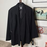 Requirements Women's 24W Black Open Front Collar Pockets Lined  jacket NWT $58