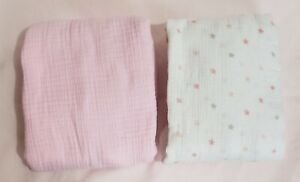 Lot of 2 Aden by Aden and Anais 100% Cotton Muslin Pink Girls Fitted Crib Sheets