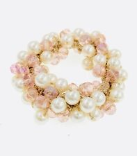 USA HANDMADE Ponytail Holder Elastic Crystal Hair Tie Rope Pearls Beads Pink