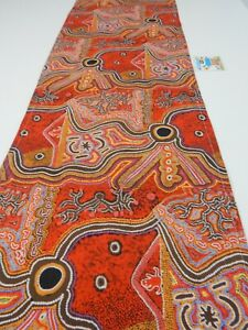 Indigenous Table Runner Frog Dreaming Lightweight Canvas 150cm x 35cm