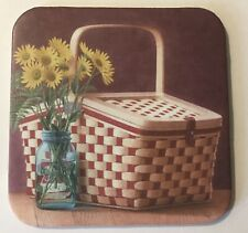 2 Longaberger Coasters With Red And White 🧺 Picnic Basket