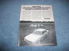 """1971 Audi 100LS Vintage Ad """"...The Audi Is Completely Sold Out."""""""