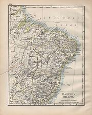 1900 VICTORIAN MAP ~ SOUTH AMERICA EASTERN BRAZIL BAHIA MINAS GERAES