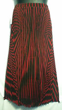 Women Clothing Long Skirt Elastic High Waist Pleated Red Black Free Size