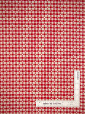Homespun Cotton Fabric Christmas Tree Check Red Cream Primitive Americana - Yard