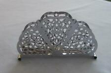 Vintage Irvinware Chrome Lace Pattern Fan-Shaped Napkin Holder