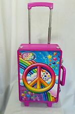 Lisa Frank Pink Peace Sign and Stars Plastic Rolling Wheels Suitcase Luggage