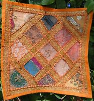Housse de coussin indien ethnique Orange Patchwork Fait main Inde Coton J2