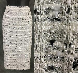 BEAUTIFUL St John collection knit white ivory silver black skirt size 12