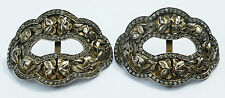 ANTIQUE VINTAGE BUCKLES SHOE PAIR cut steel and diamante early 19thC