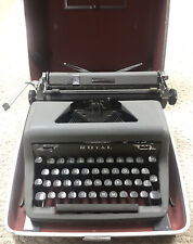 Royal Quiet DeLuxe Typewriter Charcoal Black w/Case Vintage