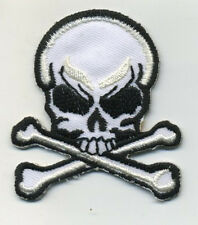 skull patch badge white bones hot rod drag race motorcycle biker chopper pirate