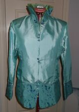 SEA GREEN EMBROIDERED SILK  JACKET, Size 10, EVENING,FULLY LINED,BRAND NEW, Aust