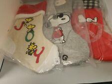 Pottery Barn Teen Peanuts,Woodstock Snoopy Christmas Stocking Joy set of 3
