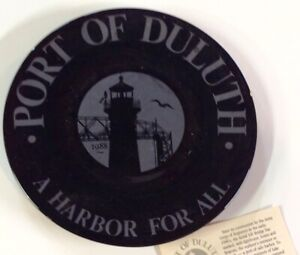 RARE Port of Duluth MN Black Porcelain Plate A Harbor For All Hanft Law Firm