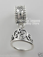Disney SNOW WHITE'S TIARA Genuine PANDORA  Silver DANGLE CROWN Charm/Bead NEW