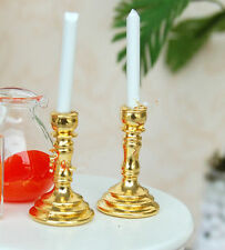 12th Scale Vintage Miniature Pair of Copper Candle Sticks Doll House Accessories