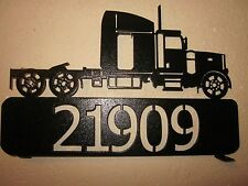 CUSTOM SEMI TRACTOR (YOUR NAME) MAILBOX TOPPER STEEL BLACK POWDER COAT
