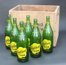 Vintage Highland Club Soda Bottles with Crate/Box - 32 ounce - Lot of 6