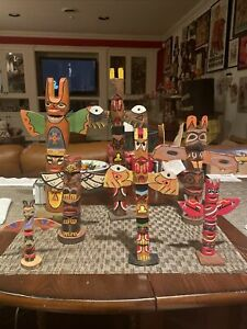 Indian made Totem Poles : LOT Of 7 (See Pictures For Sizes)