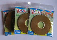 Stix2 Double Sided Polyester Ultra Sticky Clear Tape - 3.5mm, 6mm or 12mm.