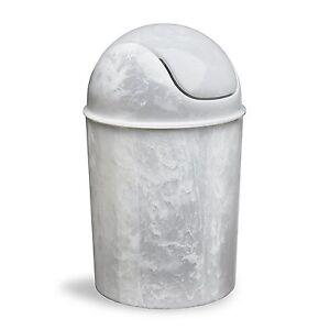 Umbra Onyx Mini Trash Can 5 Liter 5L White Marble Desk Office Paper Wastebasket