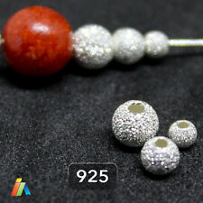 925 STERLING SILVER STARDUST SPARKLE ROUND Frosted BEADS 3-10mm SPACER _222