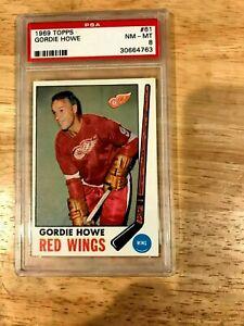 1969-70 TOPPS HOCKEY Gordie Howe #61 PSA 8 Detroit Red Wings HOF