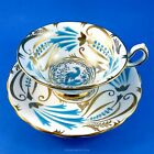 Handpainted Gold & Blue Bird Royal Chelsea Tea Cup and Saucer Set