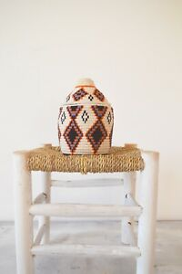 Berber Basket Handwoven Vintage Moroccan Wool lidded Basket u