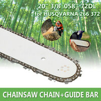 "3Pcs Chain Saw & 20"" Bar Combo For HUSQVARNA 61 65 2100XP 288XP 3/8"" 058"" Chain"
