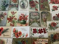 Colorful Lot of 25 POPPIES VINTAGE POPPY FLOWERS floral GREETINGS POSTCARDS-a480
