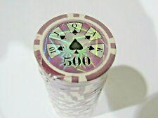25 Purple 500 High Roller Laser Graphic Design 14g Clay Poker Chips