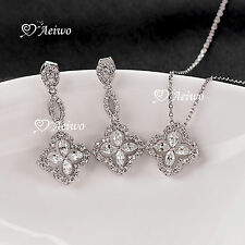 18K WHITE GOLD GF CRYSTAL PENDANT NECKLACE STUD EARRINGS WEDDING SET
