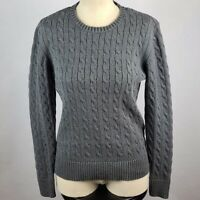 Tommy Hilfiger Grey Cable Knit Sweater Size L Cotton Pullover Long Sleeve